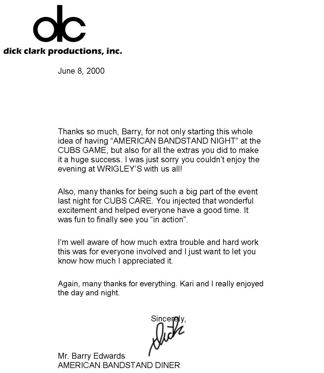 Dick Clark's Letter To Barry Edwards